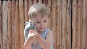 拥抱一软玩具和微笑的小男孩 股票视频
