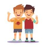 拥抱两个的男孩,最好的朋友,愉快微笑哄骗传染媒介例证 向量例证