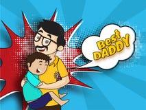拥抱他的父亲,在蓝色葡萄酒镭的最佳的爸爸文本的愉快的儿子 免版税库存照片