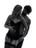 拥抱剪影的性感的时髦的夫妇恋人 免版税图库摄影