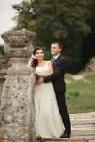 拥抱和亲吻在背景老城堡的愉快的婚礼夫妇 免版税库存照片