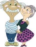 拥抱和握手的年长夫妇 免版税库存图片