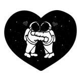 拥抱在与星的空间的手拉的宇航员夫妇在T恤杉设计、设计元素和婚姻的加州的有之心的形状形成 向量例证
