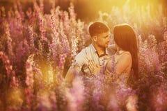 拥抱在与花的领域的美好的年轻夫妇在阳光下,恋爱的概念 库存图片