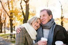 拥抱在公园,饮用的咖啡的美好的资深夫妇 秋天 免版税库存图片