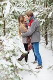 拥抱在冷杉木中的森林里的愉快的夫妇在雪 免版税库存图片