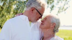 拥抱在夏天公园的愉快的资深夫妇 影视素材