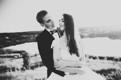 拥抱在日落的公园的新婚佳偶美好的浪漫婚礼夫妇  库存图片