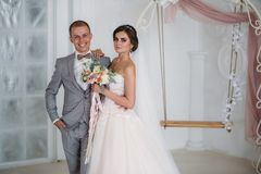 拥抱在明亮的演播室的美好的婚礼夫妇 企业灰色衣服的新郎,在蝶形领结的一件白色衬衣和a 图库摄影