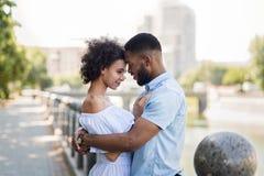 拥抱在桥梁的爱恋的非裔美国人的夫妇 库存照片