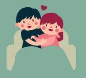 拥抱在沙发的夫妇 库存例证