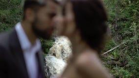 拥抱在瀑布附近的年轻夫妇 股票视频