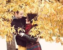 拥抱在秋季公园的爱恋的夫妇 免版税库存图片