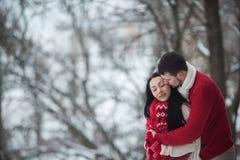 拥抱在积雪的公园的男人和妇女 免版税库存照片
