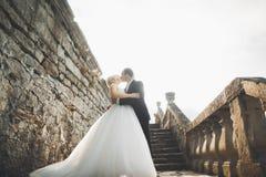 拥抱在老中世纪城堡附近的美好的童话新婚佳偶夫妇 图库摄影