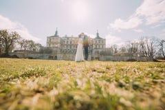 拥抱在绿色晴朗的草坪的有吸引力的新婚佳偶夫妇在美丽的被破坏的巴洛克式的宫殿附近 爱恋的新郎和迷住 免版税库存图片