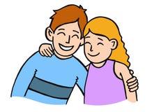 拥抱姐妹的兄弟 免版税图库摄影