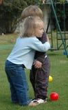 拥抱孩子 库存照片