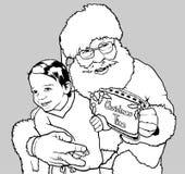 拥抱小男孩的圣诞老人 库存图片