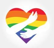 拥抱彩虹心脏,爱LGBT标志 库存图片