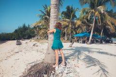 拥抱棕榈树的少妇 免版税图库摄影