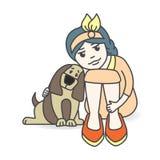 拥抱狗的孩子, 免版税库存图片