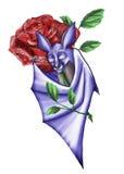 拥抱玫瑰的棒翼 免版税库存图片