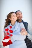 拥抱的愉快的夫妇的综合图象3d 库存图片