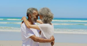 拥抱的愉快的活跃资深非裔美国人的夫妇侧视图在海滩4k 股票视频