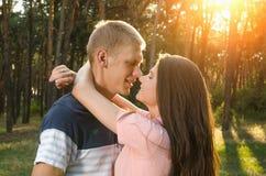 拥抱的爱恋的夫妇户外在日落 免版税库存图片