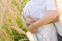 拥抱腹部怀孕的妻子,爱,预期,态度,生活方式的丈夫 免版税库存照片
