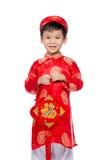 拥抱被充塞的鲤鱼的越南男孩 英俊的Asi的画象 免版税库存照片
