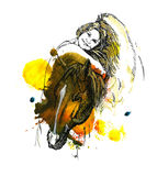 拥抱马的女孩 免版税图库摄影