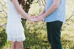 拥抱绽放的手年轻人和妇女一个美丽的女孩从事园艺, 库存图片