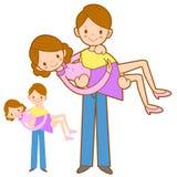 拥抱他的妻子用两只手的爸爸。家和家庭字符 库存照片