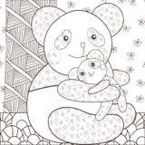 拥抱他的婴孩的着色页逗人喜爱的熊猫 异想天开的线艺术传染媒介例证 布朗概述 向量例证