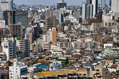 拥挤东京从上面 库存照片