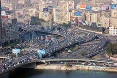 拥挤埃及开罗的鸟瞰图 免版税图库摄影