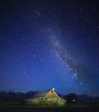 拥挤天空银河,盛大Tetons 库存照片