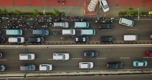 拥挤汽车和摩托车在雅加达市 股票视频