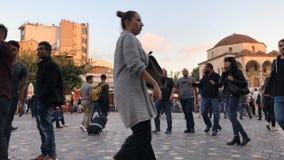 拥挤的Monastiraki广场,希腊雅典 影视素材