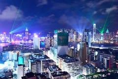拥挤街市大厦在香港 免版税库存照片