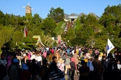 拥挤,大叻花公园,节日,春天,游人 图库摄影
