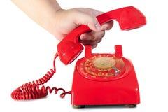 拨号房子红色减速火箭的样式电话 免版税库存图片