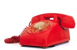 拨号房子红色减速火箭的样式电话 免版税库存照片