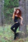 黑括号的美丽的女孩在大树附近摆在 库存照片