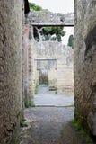 拱道,议院,赫库兰尼姆考古学站点,褶皱藻属,意大利 免版税库存照片