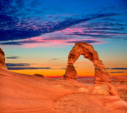 拱门国家公园精美曲拱在犹他美国 免版税图库摄影