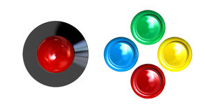 拱廊控制控制杆和按钮 库存图片