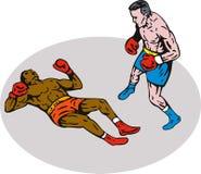 拳击击倒赢利地区 库存照片